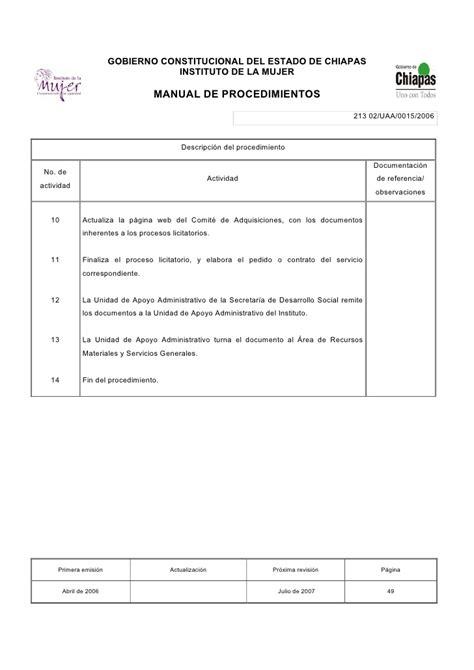 manual de procedimientos para adquisiciones guia de manual de procedimientos