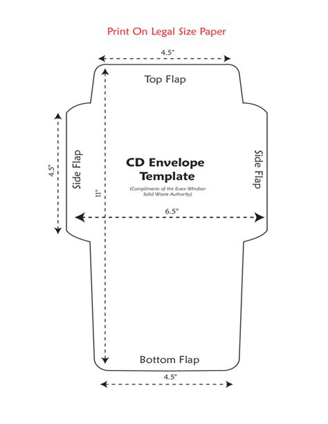 printable cd envelope standard cd envelope template free download