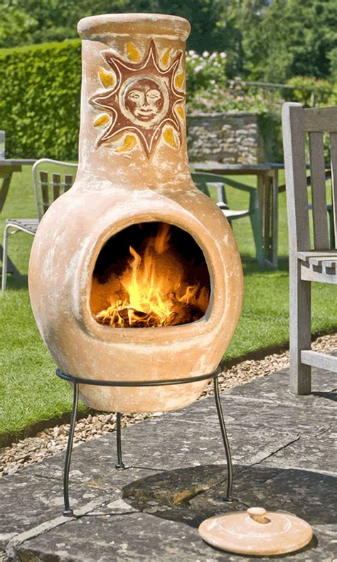 large mexican clay chimenea sunset yellow
