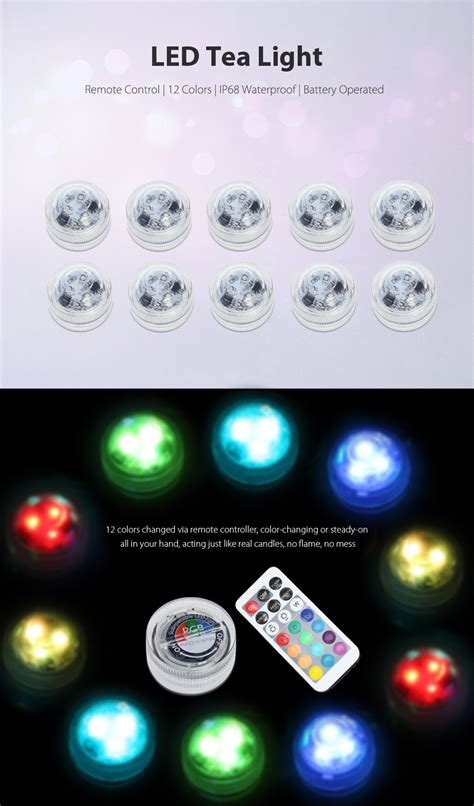 remote tea lights 10pcs waterproof rgb led tealight with remote controller