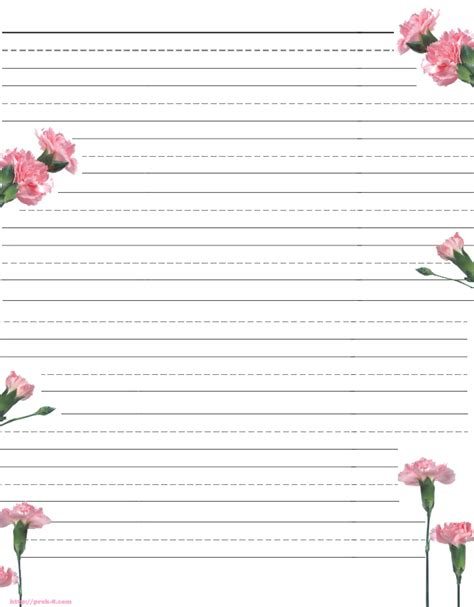 lined paper with plant border printable blank lined handwriting paper primary