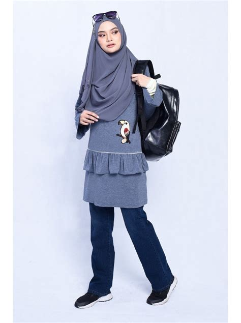 Alyssa Blouse blouse alyssa angry bird blue denim muslimahclothing