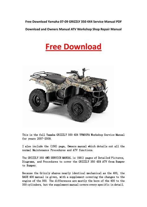 yamaha grizzly 600 repair manual free wiring