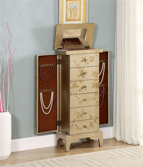 Gold Jewelry Armoire by Metallic Gold Jewelry Armoire 91791 Coast To Coast