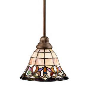 Stained Glass Kitchen Lighting Shop Portfolio Flora 8 5 In Mission Bronze Style Mini Stained Glass Bell Pendant At