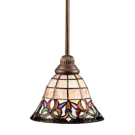 tiffany pendant lights kitchen shop portfolio flora 8 5 in w art nouveau bronze mini