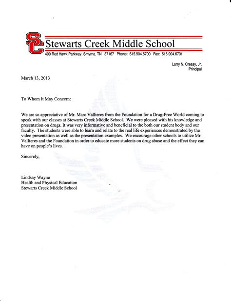 Recommendation Letter Junior High Student Rutherford Archives Free Tennessee
