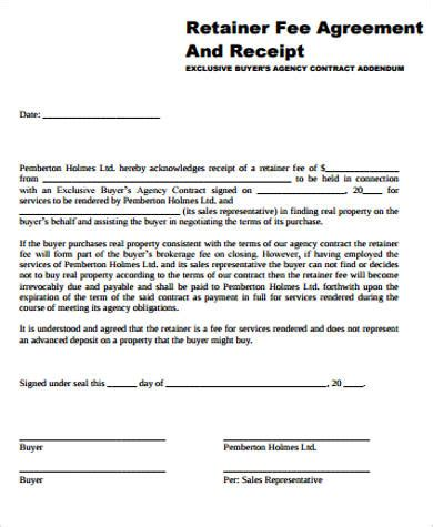 Contract Agreement Letter Exle retainer fee agreement template 28 images retainer