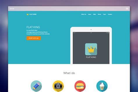 Bootstrap Themes Free Flat | flat king one page theme bootstrap themes on creative