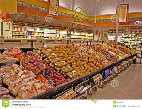 sections in the supermarket supermarket vegetable and fruit section stock image