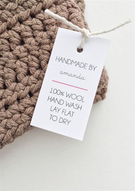 Tags For Handmade Crochet Items - shop labels handmade tags care tags handmade with