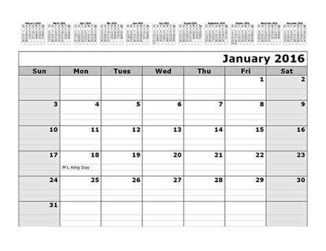 Calendar Template Monthly With Lines 2016 Monthly Calendar Template With 12 Months At Top