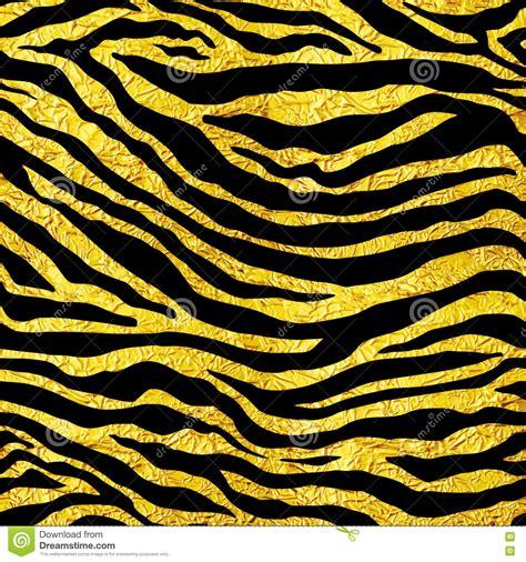 Tiger Upholstery Fabric Golden Foil Tiger Or Zebra Seamless Pattern Illustration