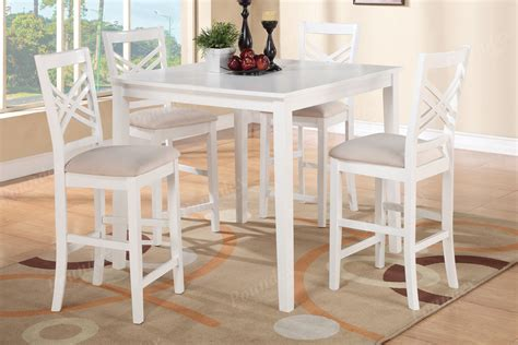 White Counter Height Dining Table White 7pc Dining Set Of Table 6 Counter Height Framed Chairs Furniture Chair Ebay