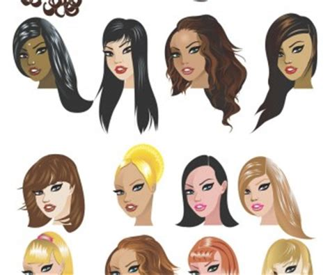 cartoon hairstyles free women haircut templates vector vector graphics blog