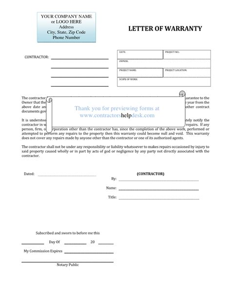 warranty templates contractors help desk forms