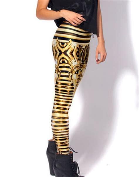 pattern living leggings womens golden jomy egypt pattern print leggings native