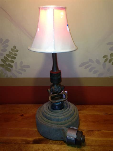 table lamp   fire chief  brass fire nozzle