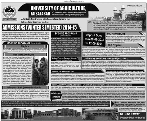 Mba After Ma by Of Agriculture Faisalabad Uaf Admission 2015