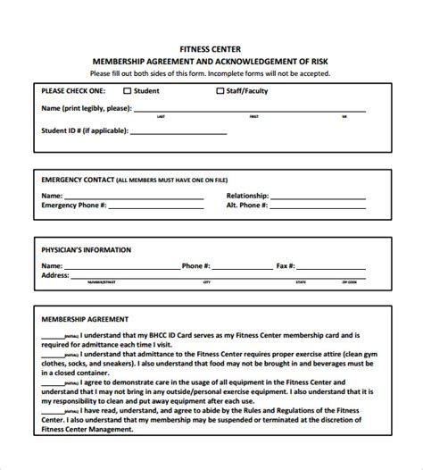 11 Gym Contract Templates To Download For Free Sle Templates Free Fitness Waiver Template