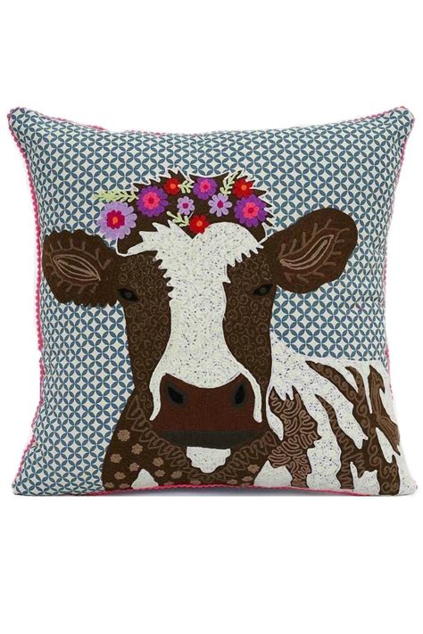 Cow Throw Pillow by Karma Living Cow Pillow From Maryland By Curlicue Shoptiques