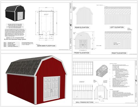 1 pole barn plans gambrel roof 12 215 14 shed plans free g484 12 x 20 gambrel barn plans sds plans