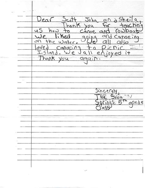 thank you letter to 5th grade you re welcome canoes on wheels cow
