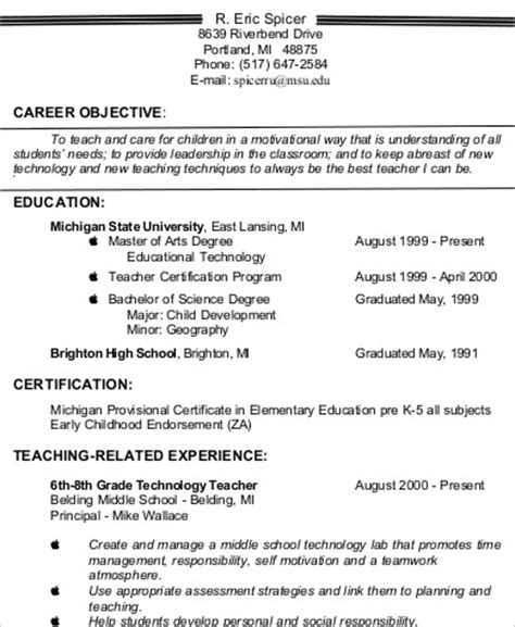 Resume Objectives For Teachers by 6 Resume Objectives Sle Templates