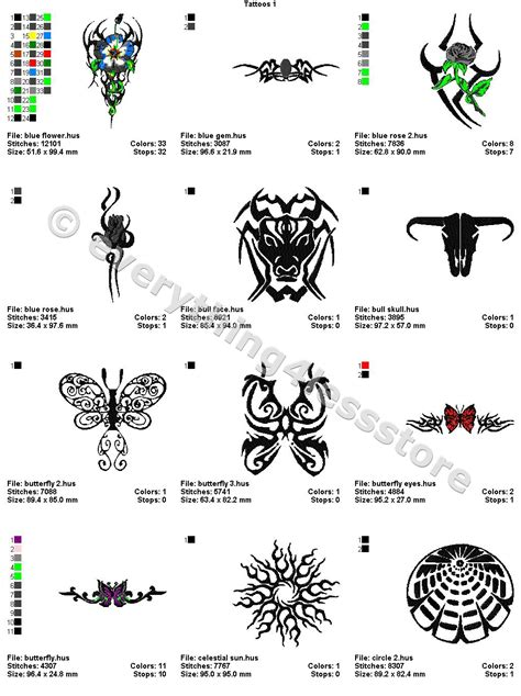 4x4 tattoo designs 48 tattoos 4x4 volume 1 mega embroidery designs on cd
