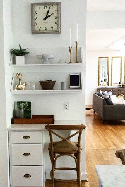 we this home office nook a set of drawers shelves