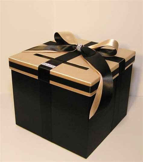 imperial treasure new year goodies wedding card box black and chagne gift card box money box