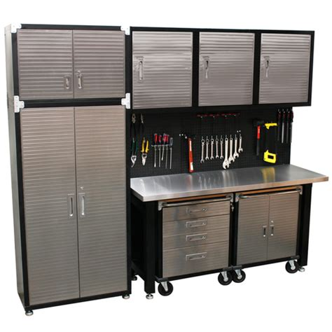 7 Standard Garage Storage System With Stainless Steel Workbench From Just Pro Tools Australia 9 Standard Garage Storage System Stainless Steel Workbench High Quality Solutions
