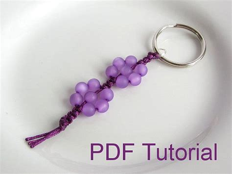 Macrame Keychain Patterns - pdf tutorial beaded flowers square knot macrame keychain
