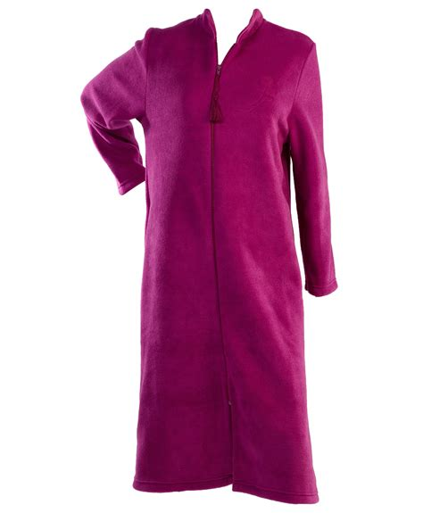 house coats house coats dressing gown womens soft polar fleece floral detail zip up house coat