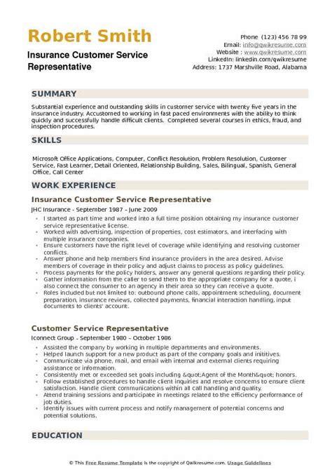 call center representative resume sample social insurance