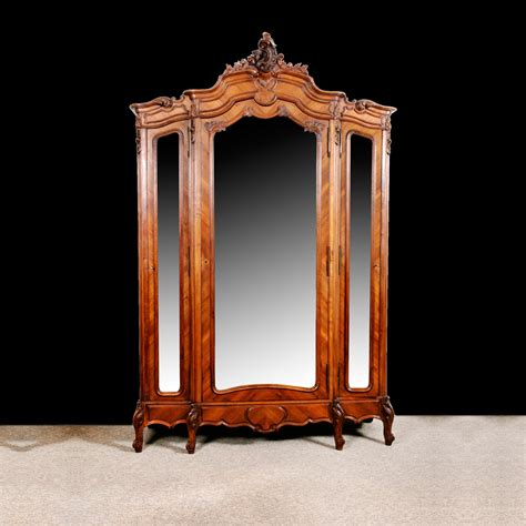 armoire in french french louis xv style armoire in carved parquetry walnut with beveled mirrored