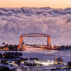 duluth sea smoke amazing photo of sea smoke fog rising off of lake superior behind the aerial lift bridge in