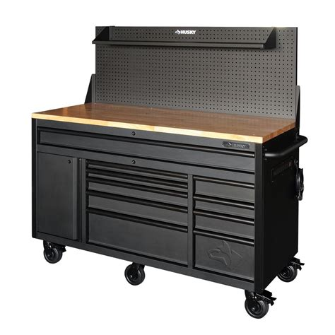 mobile tool bench husky 60 125 in 10 drawer and 1 door 24 in d textured black matte mobile workbench
