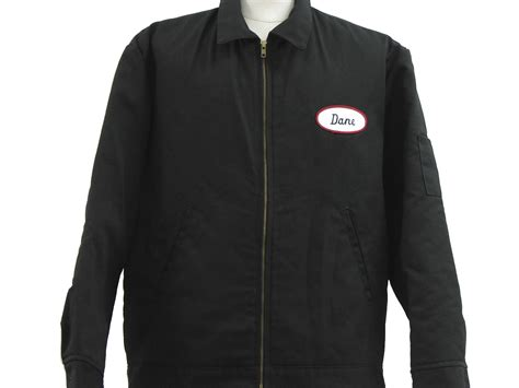 Vest Zipper Homecoming Station Apparel dickies 90 s vintage jacket 90s dickies mens black polyester cotton twill gas station style