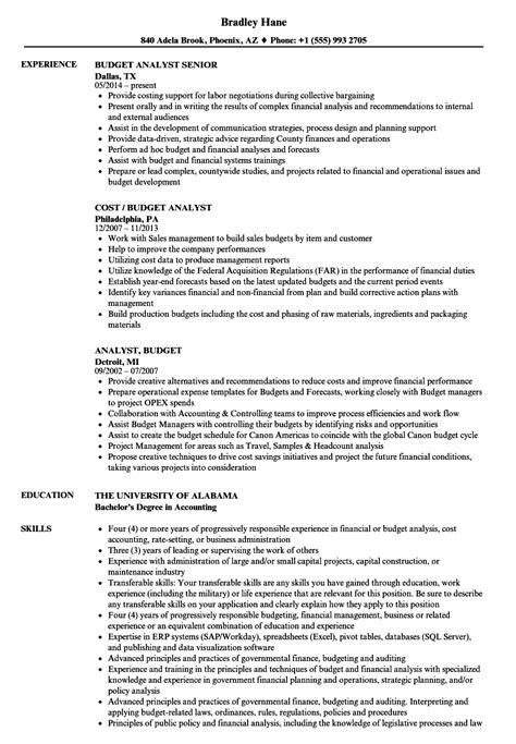 Budget Analyst Resume by Analyst Budget Resume Sles Velvet