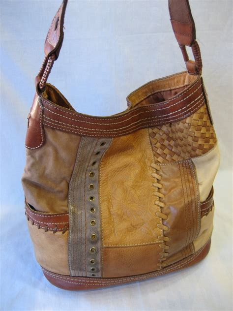 Fossil Patchwork Bag - vintage fossil leather patchwork shoulder handbag