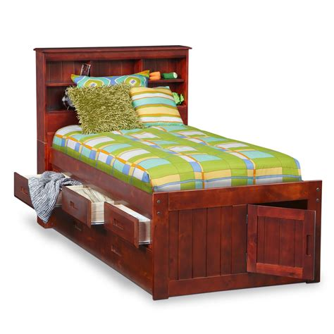 twin trundle bed with storage ranger merlot twin bookcase bed with 3 drawer storage