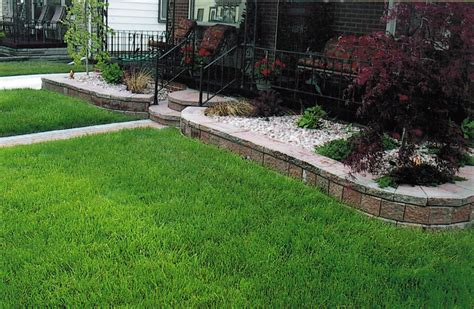 retaining wall and flower bed landscape lawncare