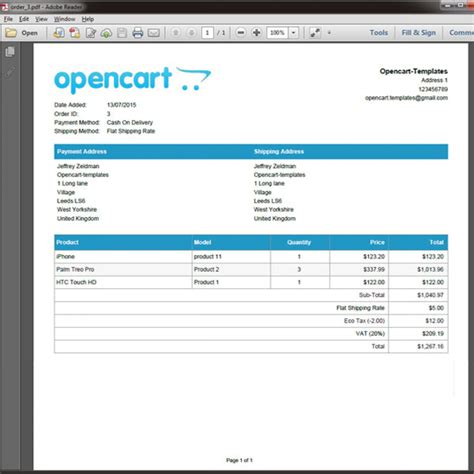 Opencart Pdf Order Invoice Opencart Invoice Template