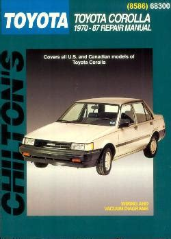 total car care repair manuals toyota pick ups land autos post 1970 1987 toyota corolla chilton s total car care manual