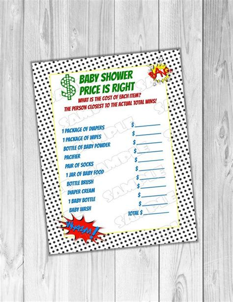 superhero baby shower game price is right game printable
