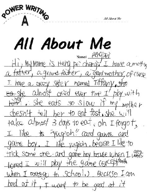 All About Me Essay Exle by About Me Paragraph Exle