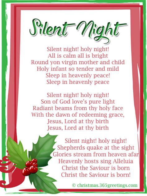 printable lyrics to silent night popular christmas carols christmas celebration all