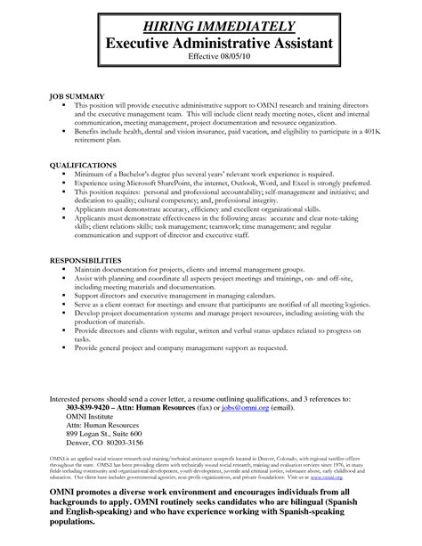 sample of executive assistant resume new administrative assistant