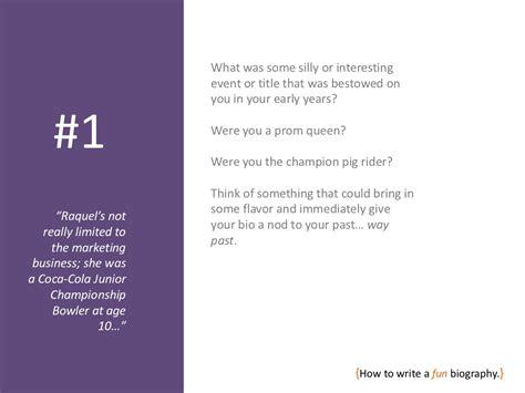 short biography ideas how to write a fun bio
